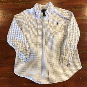 Ralph Lauren Button up, size 5, blue white, EUC!